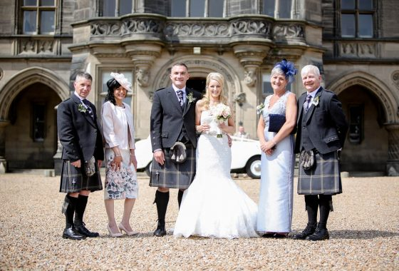 Fettes the Venue - Wedding - Bride & Groom & Parents & Car Full Imge